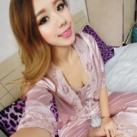三件套宫廷春秋女士可爱睡衣韩版家居服长袖吊带睡裙性感诱惑睡袍