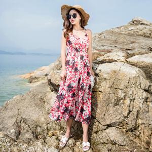 RANJU 然聚2018女装夏季新品新款海边度假波西米亚泰国沙滩裙长裙吊带连衣裙渡假裙子女夏