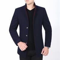 秋季新款品牌男装羊毛呢夹克韩版立领商务休闲中年外套爸爸装 蓝色 5/S