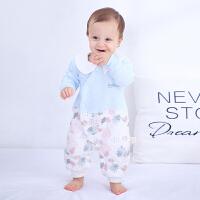 【3件3折后42.84】婴儿秋冬加厚连体哈衣0-1岁宝宝保暖内衣