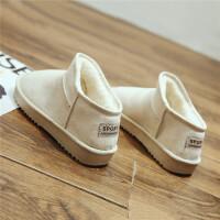 雪地靴冬季学生短筒一脚蹬时尚低帮棉鞋加绒面包女鞋