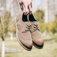 男鞋春季新款单鞋 布洛克男士韩版防滑耐磨雕花百搭牛皮休闲皮鞋