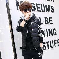 冬季男士棉衣青少年外套男韩版三件套冬装男装潮流初中学生一套装 黑色 S