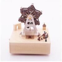 音乐盒八音盒木质女生生日七夕礼物小熊创意儿童旋转