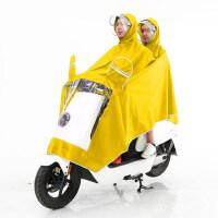 非洲豹雨衣电动车摩托车双人双帽檐雨衣单人男女式加大加厚雨披