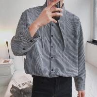 2018春季新款男士复古宽松领结衬衣千鸟格子长袖衬衫外套