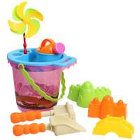 儿童沙滩玩具套装婴儿沙漏车沙子挖沙铲戏水宝宝洗澡小孩喷水枪�Q 益凯风车9件套 粉桶