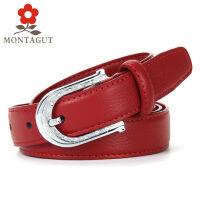 梦特娇Montagut 新款纯牛皮时尚女士腰带 针式扣头本命年腰带皮带女 潮流百搭大红色裤带