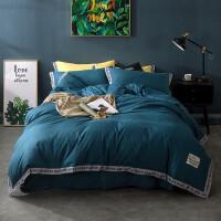 欧式床品四件套棉棉 时尚大气简约色被套床单三件套1.5m床