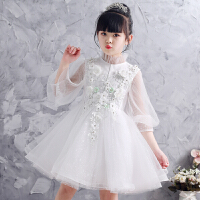 女童公主裙春夏季婚纱礼服儿童蓬蓬纱白色花童生日小主持人演出服