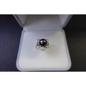 s925银镶钻大溪地黑珍珠戒指 活口