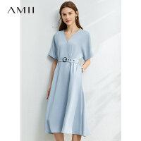 Amii极简法式V领配腰带短袖连衣裙夏季新款黑色收腰中长裙子