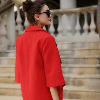 新款秋冬大衣欧美大码宽松喇叭袖羊毛毛呢外套女中长款 大红