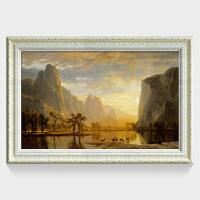 欧式客厅风景油画 书房装饰画 阿尔伯特油画希望山谷 装裱高73*长103 按拍下颜色发货