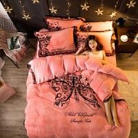 网红款加厚保暖法兰绒四件套珊瑚绒冬季双面法莱绒被套床单蕾丝边