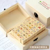 【12.12 五折抢购价32元】印章 创意文具木盒装可爱的猫咪印章套装手帐DIY装饰章40枚