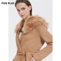 FIVE PLUS新款女装羊毛双面呢大衣女狐狸毛领长款外套系带收腰