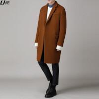 秋冬毛呢大衣男士韩版新款中长款双面羊绒大衣男宽松学生呢子外套