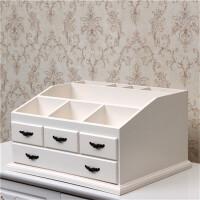 化妆品收纳盒大号梳妆盒木质桌面柜子欧式网红化妆台ins风免组装