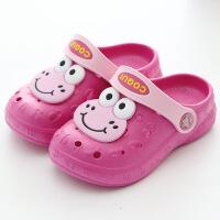 酷趣儿童洞洞鞋卡通沙滩鞋夏季男女童拖鞋宝宝大眼蛙凉鞋防滑无味