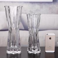 创意家居摆设六角玻璃花瓶透明六星花器鲜花假花插花简约现代花艺 六星大小号 两件套