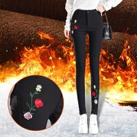 加绒加厚打底裤女外穿冬季新款高腰棉裤黑色韩版保暖小脚女裤