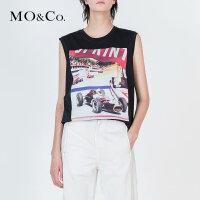 MOCO个性无袖纯棉短款赛车图案针织背心MA172TOP214