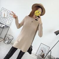 新款秋冬加厚半高领毛衣女中长款韩版宽松套头纯色针织打底衫