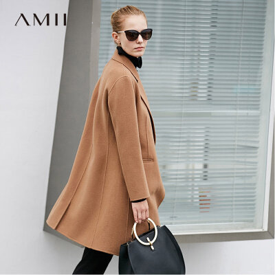 【品牌团 1件7折/2件5折】Amii柔软细腻 100%羊毛双面呢大衣 小个子翻领a字中长毛呢外套女