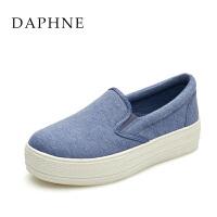 Daphne/达芙妮女鞋 中跟纯色弹力布单鞋乐福鞋1515101013