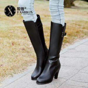 【满200减100】【毅雅】休闲粗高跟侧拉链高筒靴子 6377