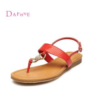 Daphne/达芙妮 夏季 潮流学院风夹趾坡跟一字扣女凉鞋