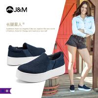 【低价秒杀】jm快乐玛丽女鞋子秋季新款平底套脚厚底增高舒适乐福鞋