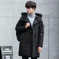 冬季新款保暖剪标羽绒服男中长款修身连帽衫男士纯色外套潮牌青年