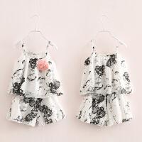宝宝水墨印花套装 夏装新款童装女童装儿童吊带短裤子