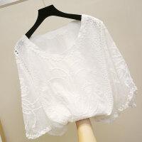 雪纺短袖女夏2018新款超仙女上衣白色洋气小衫宽松遮肚子蕾丝韩版 白色