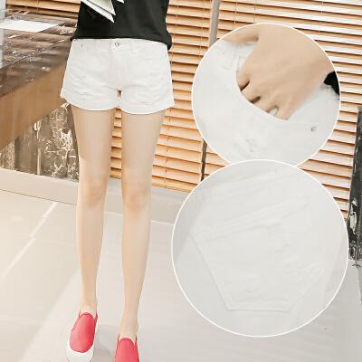 牛仔短裤女夏季直筒破洞裤韩版宽松显瘦黑白色牛仔裤短裤女