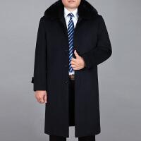 新款中年男装毛呢大衣加绒加厚秋冬装中老年人长大衣爸爸风衣外套 藏蓝色 182加绒 0码