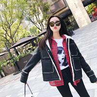 新款韩版秋季字母刺绣羊羔毛夹克皮衣女短款宽松长袖皮毛一体外套 黑色
