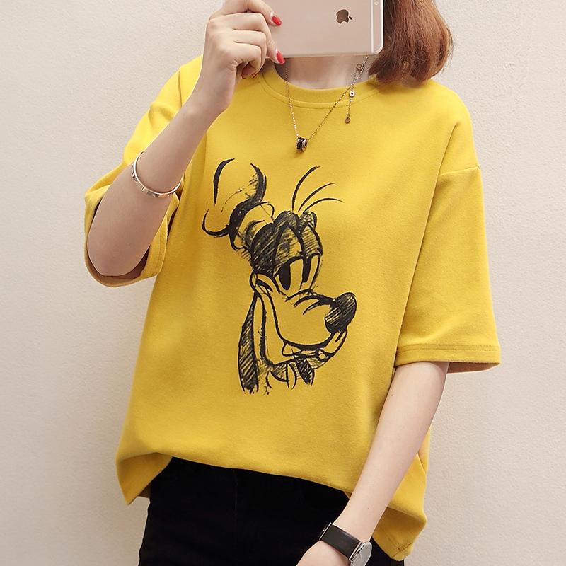 RANJU 然聚2018女装夏季新品新款短袖T恤女新款韩版圆领学生上衣服