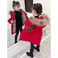 儿童棉衣外套2018冬季新款韩版中大童厚款绣花外套女孩