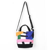 2018新品小托包印花帆布包斜跨小包休闲包包拼色设计 AM04
