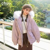chuu短款白鸭绒加厚真毛领羽绒服女2019冬新款韩版粉色小个子外套