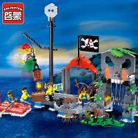 启蒙积木塑料组装模型6岁-12岁儿童益智玩具海盗系列骷髅水寨309