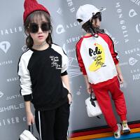 女童春装2018新款韩版时尚套装中大儿童运动两件套洋气长袖时髦7