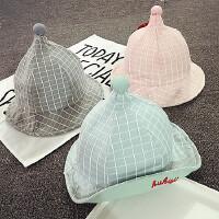 婴儿遮阳帽夏季尖尖帽宝宝盆帽春秋男女童渔夫帽3-6-个月春秋潮