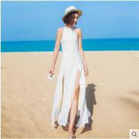 波西米亚挂脖露背蕾丝裙时尚休闲长裙女 修身性感开叉长裙海边沙滩裙度假连衣裙支持礼品卡支付