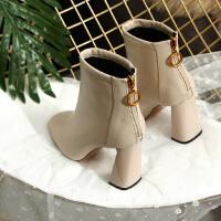 秋冬季女鞋韩版气质软皮高跟方头短靴女后拉链粗跟加绒杏色小短靴