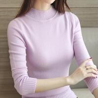 2017秋冬新款百搭修身半高领套头长袖纯色打底上衣毛针织衫女