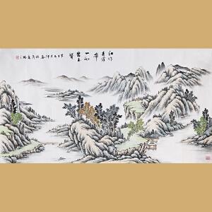 云南省美术家协会会员徐茂林先生作品――江作青罗带  山如碧玉簪